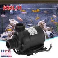 Ultra Quiet Mini DC 12V Lift 5M 800L/H Brushless Motor Submersible Water Pump US
