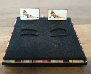 Paul Smith pin up cuff links rectangular model red head girl woman business