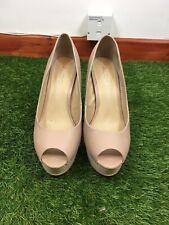 Aldo Size 6 Nude Crystal Encrusted High Heels Peep Toe Court Shoes