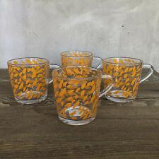 Set of 4 Ikea Bjudning Orange Glass Coffee Mugs Teacups #18314 Made In France