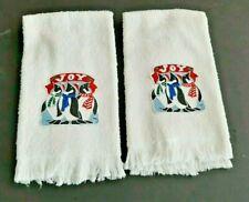 Lot Of 2 Vintage Embellished White Christmas Hand Towels With Penguins - Joy