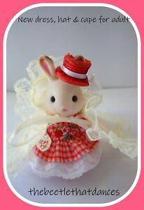 Sylvanian Clothes, New Bespoke dress, hat & cape for Adult Rabbit, Cat, Fox ETC