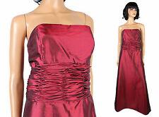Strapless Prom Gown 8 M Dark Red Burgundy Long Taffeta Bridesmaid Dress Jordan