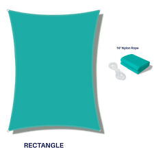 Turquoise Waterproof Sun Shade Sail Rectangle Awning Top Canopy Custom 5'-24' Ft