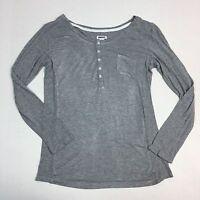 DKNY Womens Henley Top Size Small Gray Long Sleeve