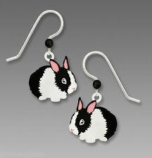 Sienna Sky Black & White BUNNY EARRINGS STERLING Silver Easter Rabbit - Gift Box