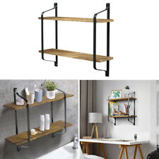 Rustic Wood Shelves Wall Mounted Floating Shelf Metal Hanging Storage Rack Unit
