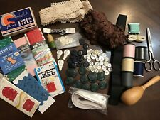 Lot of New & Vtg Sewing Notions, Supplies, Needles, Threads, Scissors, Buttons