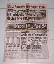 La Gazzetta dello sport FORMULA 1 1987 FERRARI ALBORETO 5 settembre