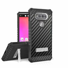 "For LG V20 5.7"" Armor Tri Shield Hybrid Kickstand Case Carbon Fiber"