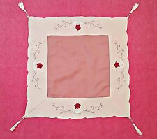 VINTAGE ROSES APPLICATION EMBROIDERY LAME SILVER TONE BEIGE RED SMALL TABLECLOTH