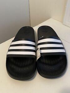 Genuine Adidas Duramo Slide Sandel Flip Flop Black White Mens Sz 17 US New w/Box