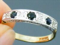 9ct Gold Sapphire & Diamond Hallmarked Art Deco design  Ring size N