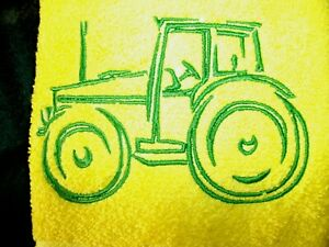 GREEN TRACTOR DESIGN EMBROIDERED, YELLOW COLOR HAND TOWEL
