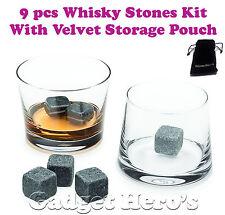 9 Piece Whisky Stones, Beer Rocks, Wine Cooler, Ice Cubes Beverage Chiller Bar