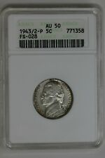 1943/2-P ANACS AU50 FS-028    Jefferson Silver Nickel