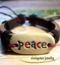 Men Women Handmade PEACE Clay Theme Surfer Biker Fashion Bracelet Wristband