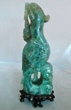 """10.75"""" Antique Chinese Carved Green Fluorite Phoenix on Custom Wood Stand"""