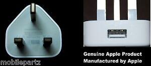 Genuine Apple A1299 3-Pin USB Mains Charger Plug for iPhone 2G 3G 3S & iPod Nano
