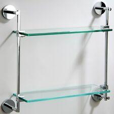 Riga Round Double 8mm Glass Shelf Bathroom Accessories Solid Brass