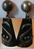 LEDESMA VINTAGE MEXICAN STERLING SILVER DANGLE EARRINGS