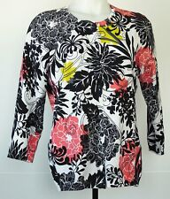 August Silk White Black Floral Print Cotton/Nylon 3/4 Sleeve Cardigan Sweater L