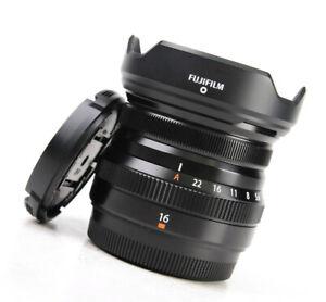 Fuji Fujinon XF 16mm F2.8 R WR Wide Angle Prime Lens +F/R Lens Caps + Hood - EXC