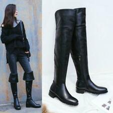Leather Over Knee Boots Women Cuffed Slouch Combat Riding Winter Zipper Boots