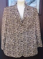 Diane Gilman Women's 2X Plus 100% Silk Leopard Animal Print Jacket Blazer Vtg