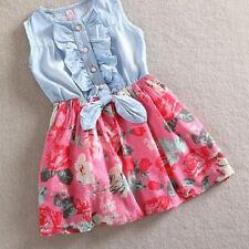 Kids Baby Girls Flower Dress Ruffled Party Skirt Denim Vest Toddler Clothes 2-8Y