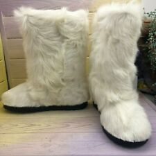CLEARANCE, White Winter Goat Fur Boots for Women, Size 7, Mukluks, LITVIN