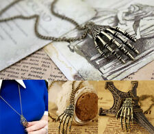 1 Pcs Vintage Punk Gothic Skull Skeleton Hand Bone Pendant Long Necklace  XICA