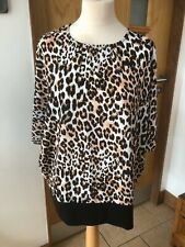 Quiz Size 20 Beige/black Leopard Skin Batwing Short Sleeve Top