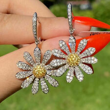 925 Silver Sunflowe Drop Earrings Women White Sapphire Bridal Jewelry A Pair/set