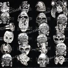 FREE wholesale lots 10pcs skull carved biker men Silver tone rings jewelry