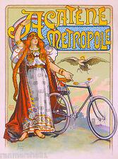 Acatene Metropole Bicycle France French Nouveau Advertisement Art Poster Print