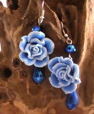 FLOWER EARRINGS, BLUE FLOWER FLORAL handmade HIGH QUALITY electric blue
