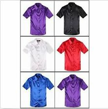 New Fashion Mens Formal Casual Shirts Slim Fit Groom/Groomsmen Satin Dress Shirt