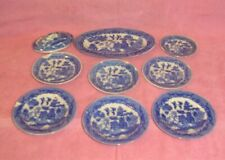 Set 9 Asst Vintage Porcelain Child's Toy Tea Set Blue Willow Japan Dishes