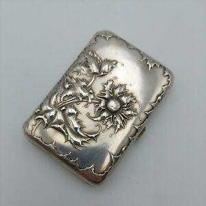 German solid 800 silver cigarette case sea holly plant flowers gilt antique