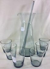 Original Kaj Franck Nuutajarvi Notsjo Decanter, Stir Stick & 6 glasses Grey 1953