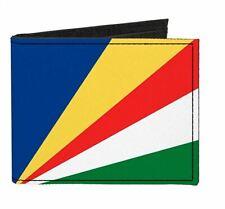 Seychelles Country Flag Canvas Bi Fold Wallet ID Card Holder New