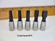 "Set of 5 Craftsman 1/4"" Drive SAE Hex Bit Sockets. 3/16"" 7/32"" 1/4"" 5/16"" 3/8"""