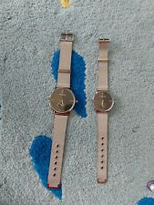 2pcs Couple Watch Set Mesh Silver Black Dial Uk Stock