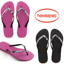LIMITED EDITION Havaianas Slim Strapped Logo  Floral Thong Thin Strap Black Pink