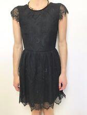 FAB TIGERLILY BLACK CAP SLEEVE LACE DRESS FITTED WAIST DRESS SZ 6