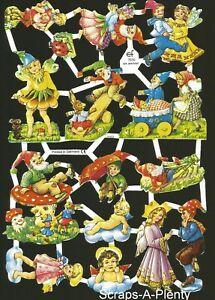 German Embossed Vintage Style Scrap Die Cut - Fairy / Gnome / Children  EF7010