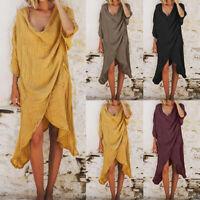 2021 ZANZEA Women Summer 3/4 Sleeve Flare Sundress Beach Club Party Midi Dress
