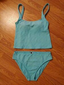 La Blanca 12/14 Turquoise Aqua Tankini Bathing Suit Padded Cup Top 12 Bottoms 14