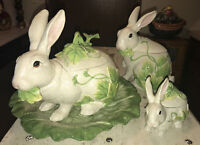 FITZ & FLOYD Classics Le Lapin Soup Tureen w/Underplate, Cookie Jar & Candy Dish